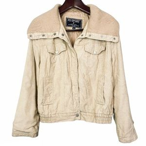 Vintage•Fleet Street•tan corduroy bomber jacket